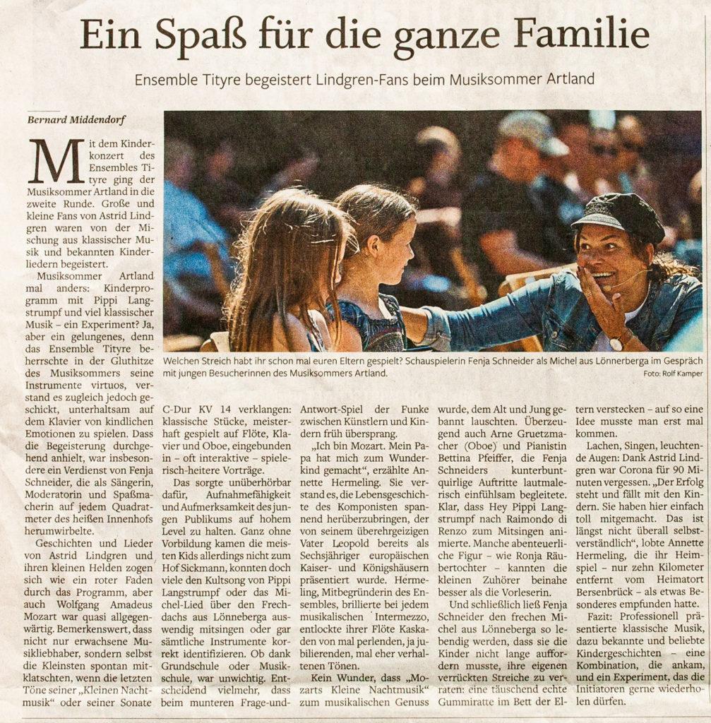 Artland Musiksommer - Artikel Bersenbrücker Kreisblatt